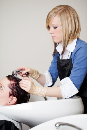 handbasin: Salon assistant in a hair salon shampooing or rinsing a clients hair to remove excess tint over a handbasin