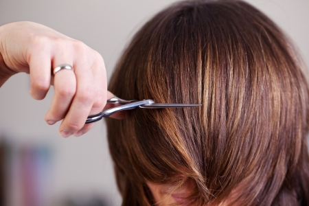 belle brunette: Femme avec longueur mi cheveux brune ayant les cheveux coupés court à un salon de coiffure par un styliste avec des ciseaux
