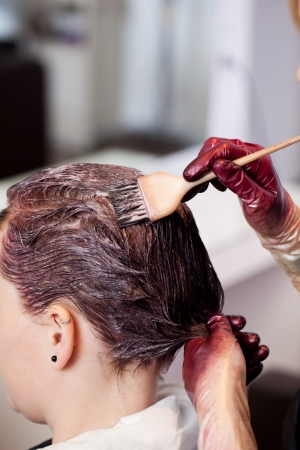 dye colors: Hands of a female hairdresser tinting the hair of a client in a hairstyling salon applying the paste with a brush Stock Photo