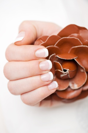 Beautiful manicured fingernails with a clear lacquer finish in the French style Stock Photo