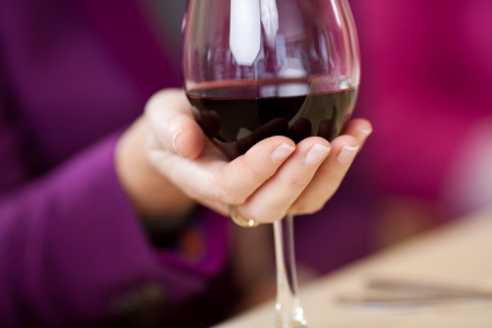 winetasting: Closeup of womens hand holding wine glass at restaurant table Stock Photo