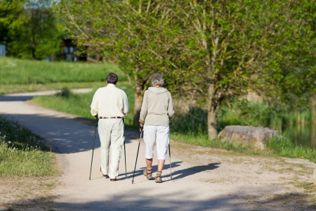 in behind: Elderly couple wandering with nordic walking sticks inside the park together.