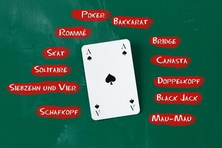 jeu de carte: Gros plan de carte d'as entouré par des noms de jeux sur le tableau noir Banque d'images