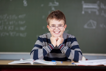 Portrait of happy preadolescent student sitting at desk in classroom photo