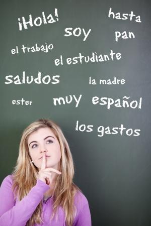comunicación escrita: Adolescente pensativo con el dedo en los labios mirando hacia arriba con las palabras españolas escrito en la pizarra Foto de archivo
