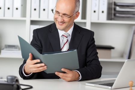 cv: smiling businessmann looking at cv in office