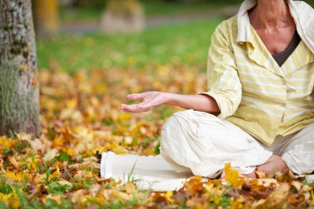 Low section of senior woman meditating while sitting in lotus position at park Stock Photo