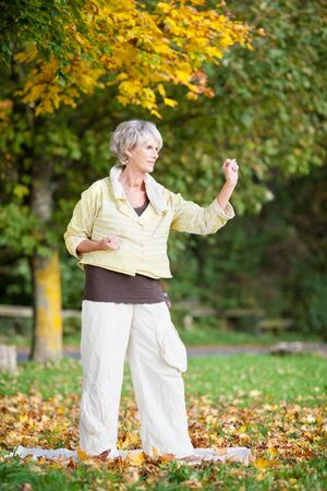 tai chi: Portrait of concentrated senior woman performing Tai Chi in park