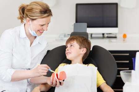 dental clinic: Female dentist explaining brushing procedure to little boy using artificial teeths in clinic