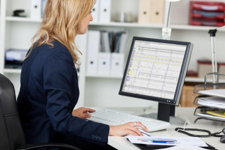 using the computer: Vista lateral retrato de mujer de negocios que usa el ordenador en el escritorio de la oficina Foto de archivo