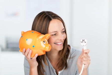 power of money: Portrait of happy mid adult businesswoman with electric plug and piggy bank in office