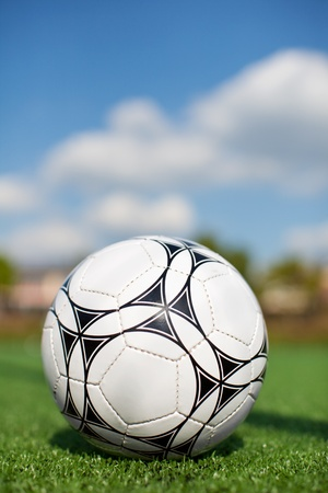 Closeup of soccer ball on grass at field photo