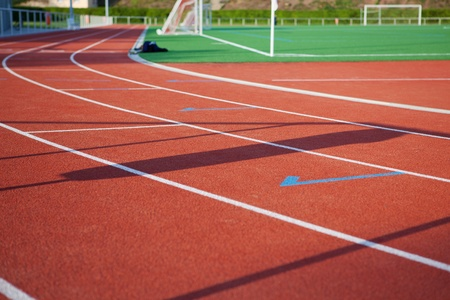 athletics track: View of empty race track Stock Photo