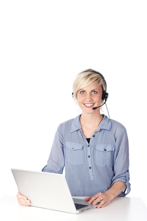 Happy and beautiful young woman with headset looking at camera against white background Stock Photo - 21264906