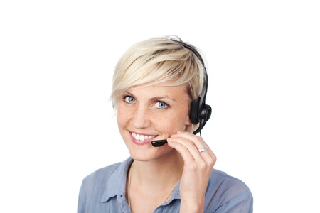 callcenter: Closeup portrait of a pretty young woman with headset against white background Stock Photo