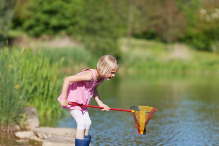poised: Young girl catching fish at the lake standing in her gumboots on the rocks poised with her net at the ready