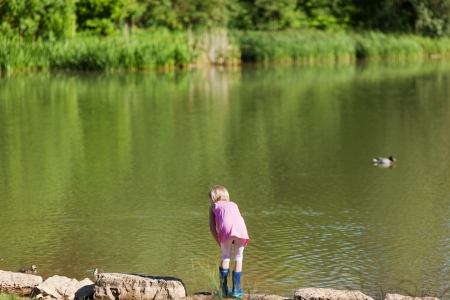 children pond: Young girl fishing at a tranquil scenic lake with a net with ducks floating in the centre Stock Photo