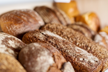 unhealthful: Selective focus of sweet breads in coffee shop Stock Photo
