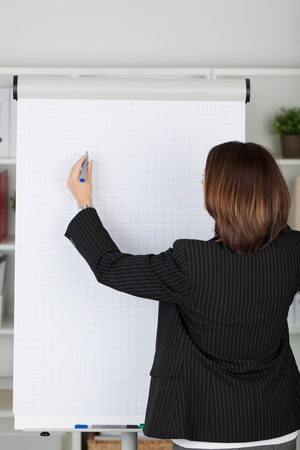 Businesswoman in a black jacket standing with her back to the camera writing on a blank flipchart with a marker pen during a presentation photo