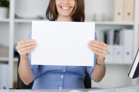 midsection: Midsection of businesswoman displaying bank paper in office