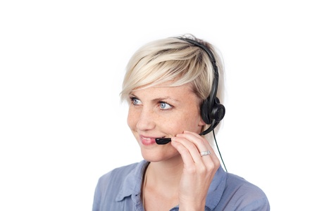 personal assistant: Closeup of a pretty young woman with headset against white background