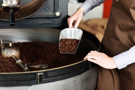 vrouw nemen geroosterde koffiebonen uit de geroosterde machine