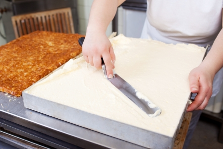 biscuit factory: Cream is being spread on a large cake