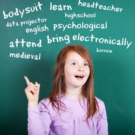 Conceptual portrait of female student learning an English vocabulary photo