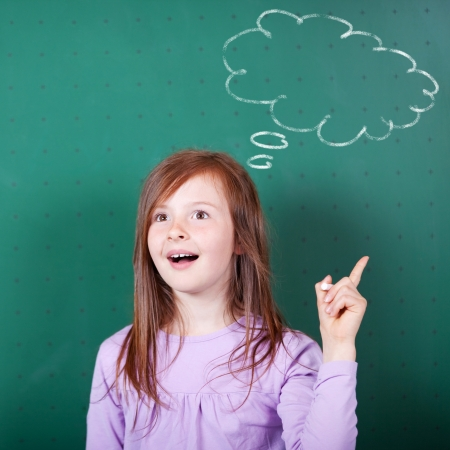 Thinking girl with thought thinking chalk cloud on blackboard background photo