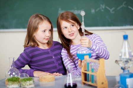 Young girls doing a chemistry experiment standing examining a blue mixture in a glass flask at a counter in the classroom photo