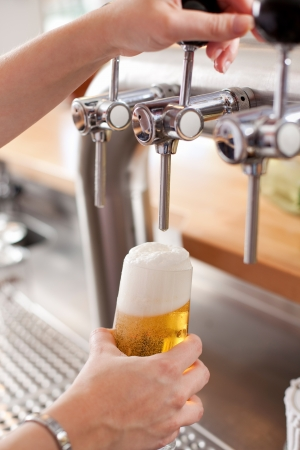 dispensing: Bartender pouring a pint of frothy draft beer into a glass from a steel spigot on a keg in a bar
