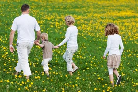 grassy field: rear view of a family walking away over grassy field Stock Photo