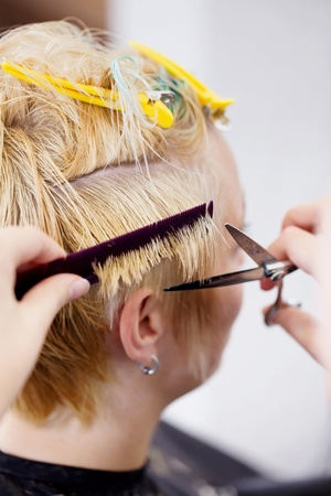 scissors hair: woman having her hair tips cut in salon