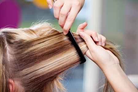 combed: female client gets combed at the hairdressers Stock Photo