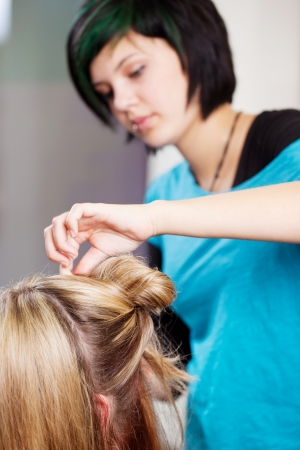 updo: Young female hairdresser making clients hair in salon Stock Photo