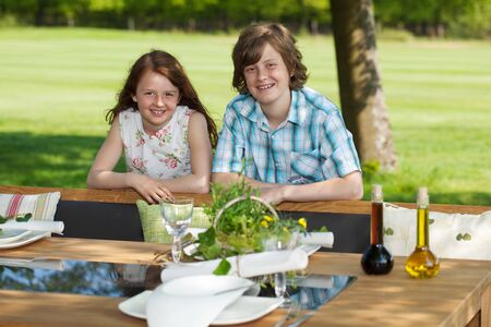 Portrait of young brother and sister leaning on bench at lawn Stock Photo - 21300890