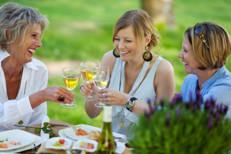 Happy mother and daughters toasting white wine at dining table in lawn photo