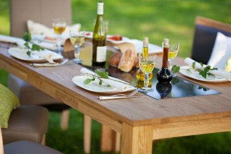 garden furniture: decorated table with dinner in the garden