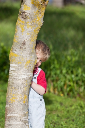 Portrait of cute boy hiding behind tree trunk in yard photo