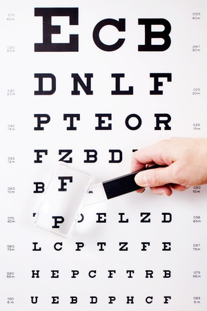 optical instrument: Closeup of hand holding magnifying glass against Snellen chart