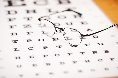 eye glasses with thin frame lying on snellen chart Stock Photo