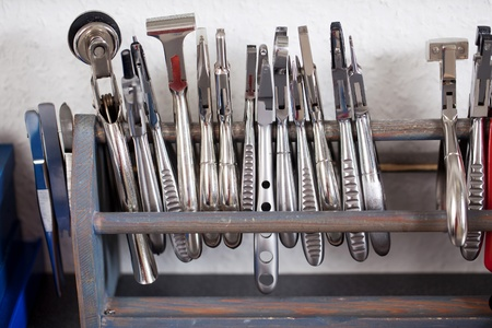 optical instrument: Closeup of tools displayed on rod