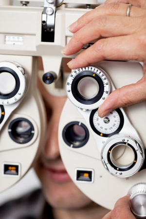 instrument of measurement: detail view of eyesight measurement in eye clinic