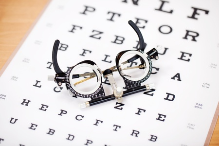 measuring instruments: detail view of an instrument lying on snellen test chart Stock Photo