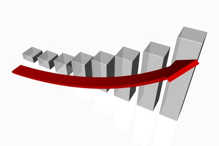 upwards: 3d render of an increasing bar graph with a red arrow showing positive growth and improved performance on a white background Stock Photo