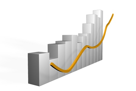 trending: 3d bar graph with undulating or fluctuating performance and an overall upwards trend of increasing growth and performance with a gold arrow on a white background Stock Photo