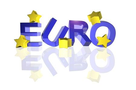 eec: Euro sign with fallen stars in 3d