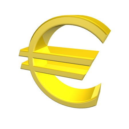 denoting: 3d render of a golden yellow Euro symbol denoting the currency of the European Union isolated on white background Stock Photo