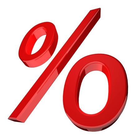 percentage sign: 3d illustration of a percentage symbol in red angled obliquely with receding perspective on the left isolated on a white background Stock Photo