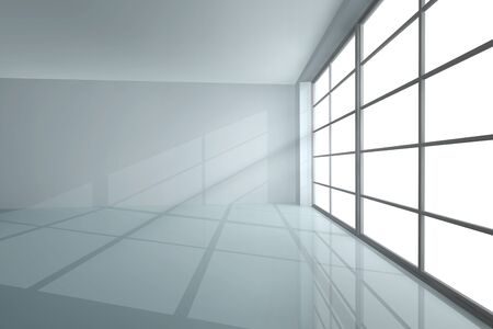 warehouse interior: White empty room with shadow from a large window Stock Photo